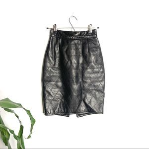 Danier┃Diamond Quilted 100% Leather Pencil Skirt